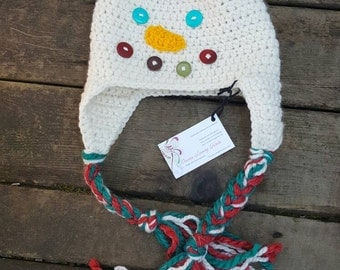 Snowman hat, snowman ear flapper, snowman face hat, child's snowman hat, adults snowman hat, baby snowman hat,
