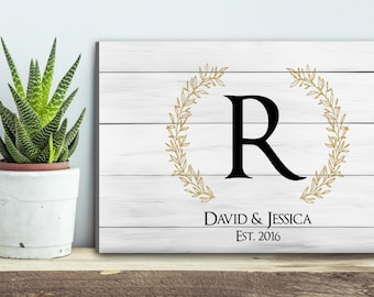 Family Sign, Big Monogram Family Sign, Rustic Name Sign, Established Sign, Last Name On Canvas