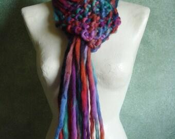 Jewel Tones Long Fringe Scarf Knit of Jumbo Merino Wool