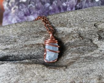 Blue Calcite Necklace - Raw Stone Jewelry - Rough Calcite Jewelry - Natural Stone Necklace - Indie Bohemian Jewelry - Boho Gypsy Necklace