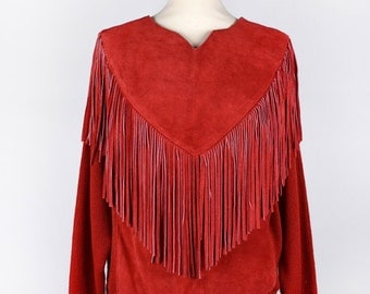 Red Suede Leather and Knit Sweater with Fringe by Pioneer Wear, Size Small