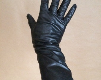 vintage 1960's 60's 3/4 leather gloves / soft / small size / retro mod