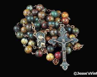 Catholic Rosary Beads Red Creek Jasper Natural Stone Rustic Copper Traditional Five Decade Rosary