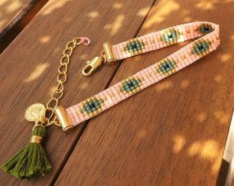 Glass Beaded Loom Evil Eye Bracelet with Tassel - Blue Evil Eye Bracelet