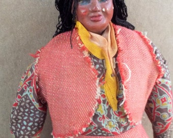 Vintage Handmade Wide Chubby Sassy African American Woman Doll