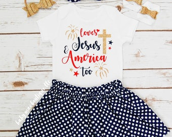 Fourth of July Outfit; July 4th Babygirl Outfit; Loves Jesus and America baby girl Fourth bodysuit with Skirt; Gerber ® Onesies ® brand