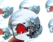Red barn & snowy countryside landscape stickers