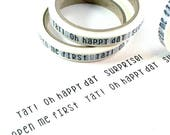 SHOP EXCLUSIVE slim washi tape - Yay! oh happy day, surprise!, open me first - happy mail washi tape for packaging - 24 yards