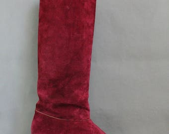 Womens Burgundy Suede Knee High Boots, Riding Boots, Boho Boots, Hippie Boots, Vintage 70s Boots, Tall Boots, US Size 10