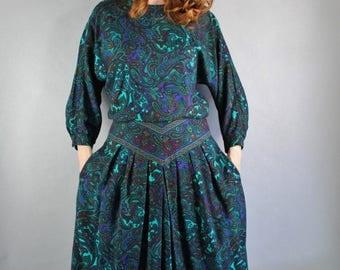 FREE SHIPPING 80s Womens Green Navy Paisley Long Sleeve Boho Dress, Bohemian Dress, Stevie Nicks, Secretary Dress, Casual Dress, Size Medium