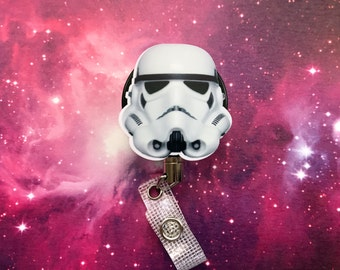 Stormtrooper Steel Cord Heavy Duty Star Wars Nerd Geek Badge Reel Retractable ID Holder Nurse CNA CPhT Technician Mens Womens Storm Trooper