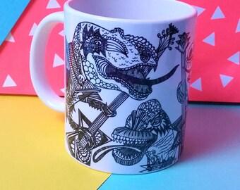 Dinosaur mug, Jurassic rock mug