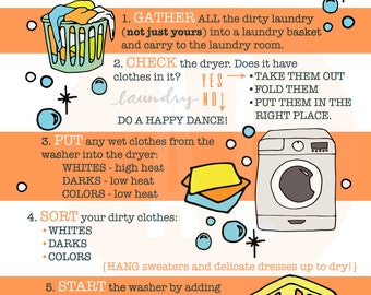 Laundry Infographic, how to do laundry, kids printable