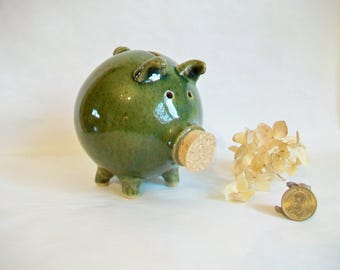 Piggy Bank - Grass Green, Handmade on the Potters Wheel using a Speckled Stoneware Clay,- Ready to Ship - Actual Piggy
