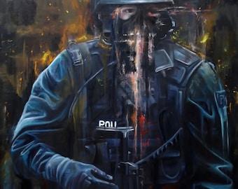 Original Art Print of Cop Painting by Karl Jahnke