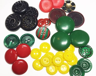 Colorful Vintage Button Collection - Molded Celluloid Buttons - Bakelite Buttons - Collectible Buttons - B40 - 35 Buttons