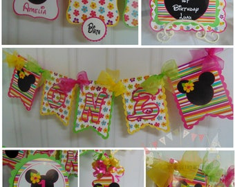 Minnie Mouse Luau 1st birthday Party Package - ONE banner, party hat, 12 month photo banner