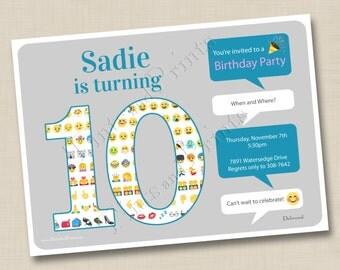 Emoji Fun Birthday Party Custom Card Invitation Design - any age