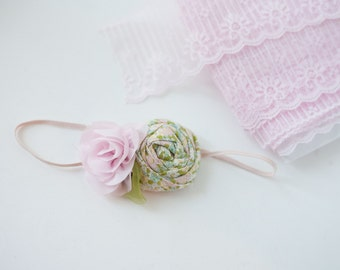 So Softly  - blush pink chiffon rose and rosette spring headband bow