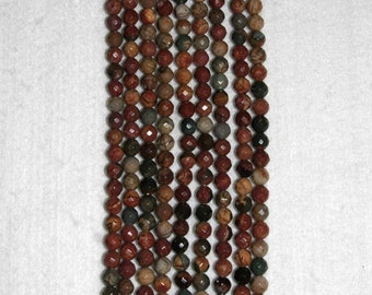 Coral, Fossil Coral, Faceted Coral Bead, Fossil Coral Bead, Natural Fossil, Full Strand, 4 mm, AdrianasBeads
