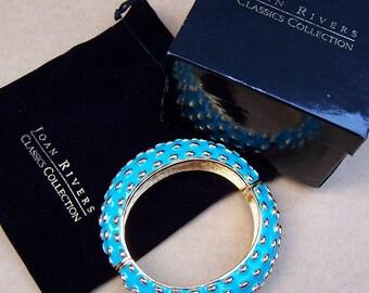 Vintage clamper bracelet Joan Rivers boxed blue enamel Classic Collection (AAP)