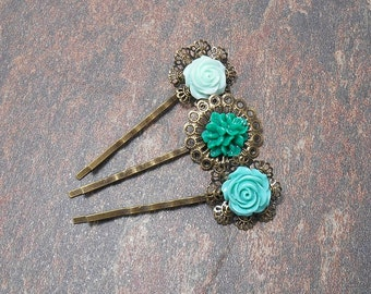 Set of 3 Floral Bobby Pins - Green Hair Pins - Clearance - Spring Hair Pins - Floral Hair Accessories