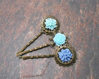 Set of 3 Shades of Blue Floral Resin Bobby Pins - Clearance - Spring Hair Pins - Floral Hair Accessories
