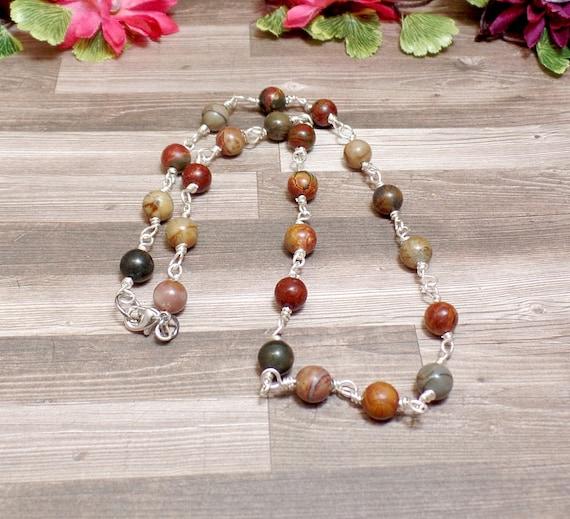 Picture Jasper Beaded Necklace - Gemstone Beaded Necklace - Gemstone Beaded Chain - Free US Shipping