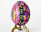 Mothers Day gift Funky Flower Pysanka Batik style egg