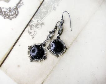 Rustic Beaded Assemblage Earrings - Black Tin Discs, Metal Stars - Vintage Clear glass Seed Beads - Sterling Silver Ear Wires - Cosmic Glam