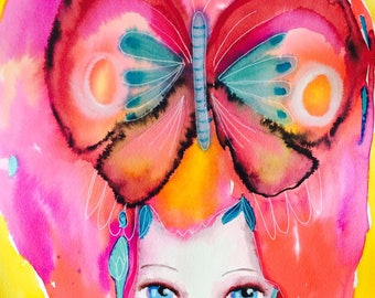 Butterfly princess, watercolor girl painting, watercolor wall art, colorful wall art, woodland watercolor, pink, yellow, nursery decor