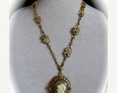 Pre Holiday sale Vintage Victorian Style Cameo Pendant Lavaliere Necklace Repurposed Vintage Florenza Bracelet, Vintage Chain, Sage Green an