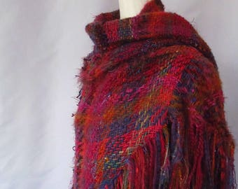 Tri Loom Shawl in Bright Red, Pink, Orange, and Purple