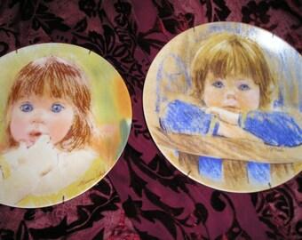 Vintage Pr. Frances Hook Legacy Child Boy/Girl Portraits Dreaming and Fascination 1985 Roman inc. Mint.Signed.