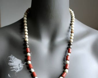 Sacred Bells - Cream and Tan Bone Beads - Maroon Red India Beads -  Ethnic Layering Necklace