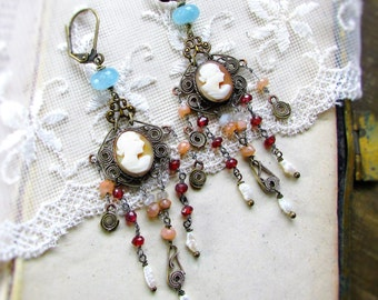 Ethereal Lady,Vintage Carved Shell Cameos,Aquamarines,Garnets,Pink Opals,Genuine Pearls Vintage Assemblage Earrings by ,Hollywood Hillbilly