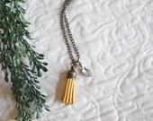 Mustard Yellow Tassel Necklace with Vintage Rhinestone Charm