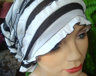 Chemo Headscarf womens chemo hat soft headcovers ruffled headscarf black and white