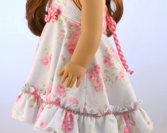 "18"" Doll Clothes fits American Girl Dolls - Swing Dress with Halter Ties and Ruffle"