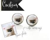 Custom Pet Photo Earrings Titanium Post Earrings   Hypoallergenic Earring Stud   Titanium Earring Stud Sensitive jewelry post