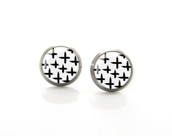 Black and white cross plus Modern geometry Titanium Post Earrings | Hypoallergenic Earring Stud | Titanium Stud Sensitive jewelry post