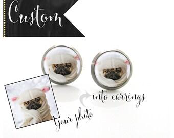Custom Pet Photo Earrings Titanium Post Earrings | Hypoallergenic Earring Stud | Titanium Earring Stud Sensitive jewelry post