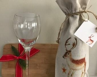 Reindeer Wine Bag, Gift Linen Bag, Bag With Gift Card, Holiday Wine Gift, Linen Bag with Card, Holiday Favor, Event Wine Gift, Wedding Gift