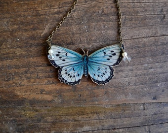 BLUE BUTTERFLY NECKLACE insect pendant blue and black moth jewelry jewellery