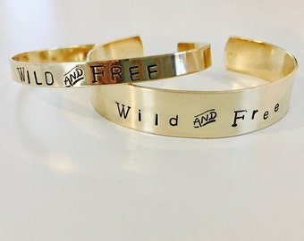 Wild and Free Brass Stamped Bracelet, Designs, Names, Dates, Roman Numerals, Coordinates, Messages, #Instagram, custom, personalized