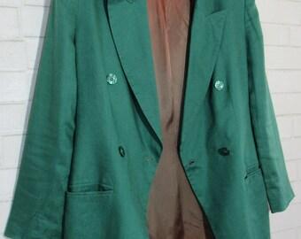 80s Emerald Green Jones New York Linen Blazer