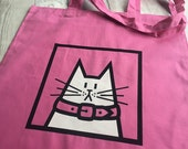 Cat Tote Bag  Pink Beach Bag  Spring Break Pink Cotton Bag Featuring Dave  Holiday Essential