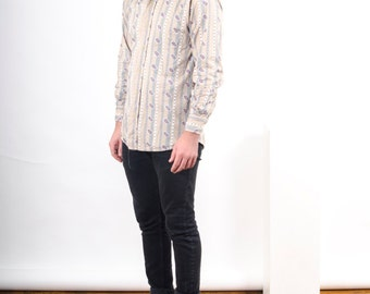 Paisley Button Up Shirt / Beige Mens Shirt / Slim Abstract Spring Shirt