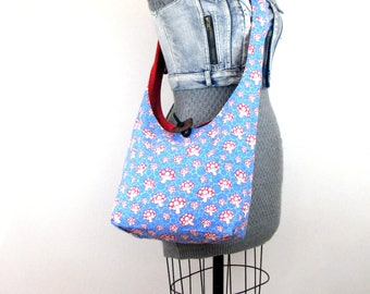 Magic Mushroom Bag - Cross Body Bag - Slouch Bag - Cross Shoulder Bag - Blue Purse - Vegan Purse - Hobo Purse - Vegan Bag - Crossover Bag