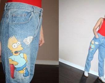 vetements 1990s Painted Bart Simpson Hip Hop Rap Rapper Cartoon Graphic High Waist Acid Wash Chemical Wash Denim Jeans  - W00286